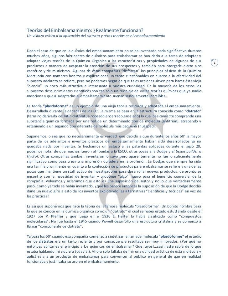 Teorías del Embalsamamiento: ¿Realmente funcionan?Un vistazo crítico a la aplicación del clatrato y otras teorías en el em...