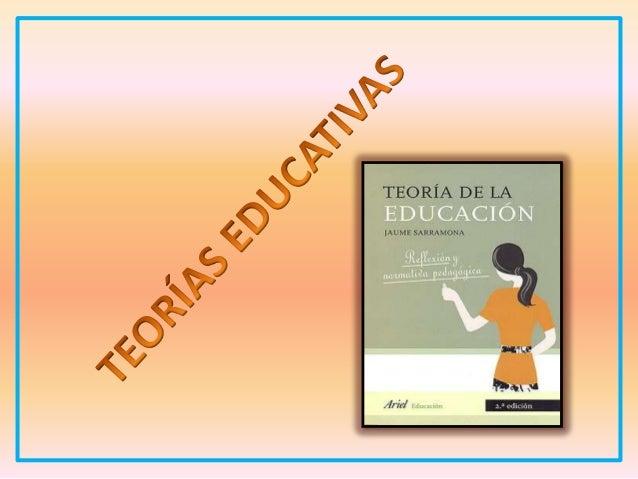 TEORÍAS EDUCATIVAS  Describen  Explican  Orientan  Proceso Educativo  Desarrollado en torno a  Persona  Sociedad que se de...