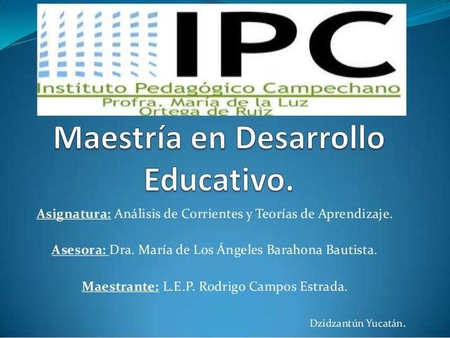 Asignatura: Análisis de Corrientes y Teorías de Aprendizaje. Asesora: Dra. María de Los Ángeles Barahona Bautista. Maestra...