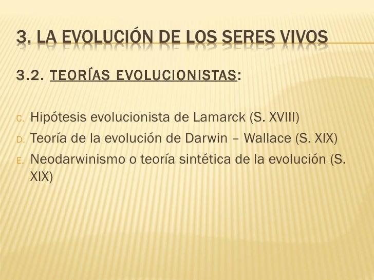 Teorías sobre la evolución de las especies Slide 2