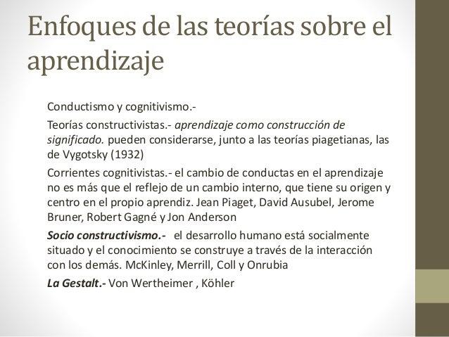 Enfoques de las teorías sobre el aprendizaje Conductismo y cognitivismo.- Teorías constructivistas.- aprendizaje como cons...