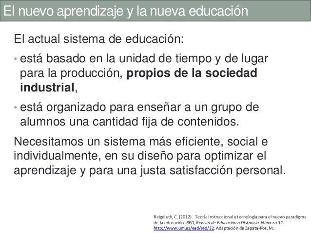 El nuevo aprendizaje y la nueva educación El actual sistema de educación: • está basado en la unidad de tiempo y de lugar ...