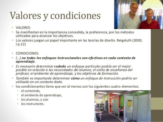 Valores y condiciones • VALORES: • Se manifiestan en la importancia concedida, la preferencia, por los métodos utilizados ...