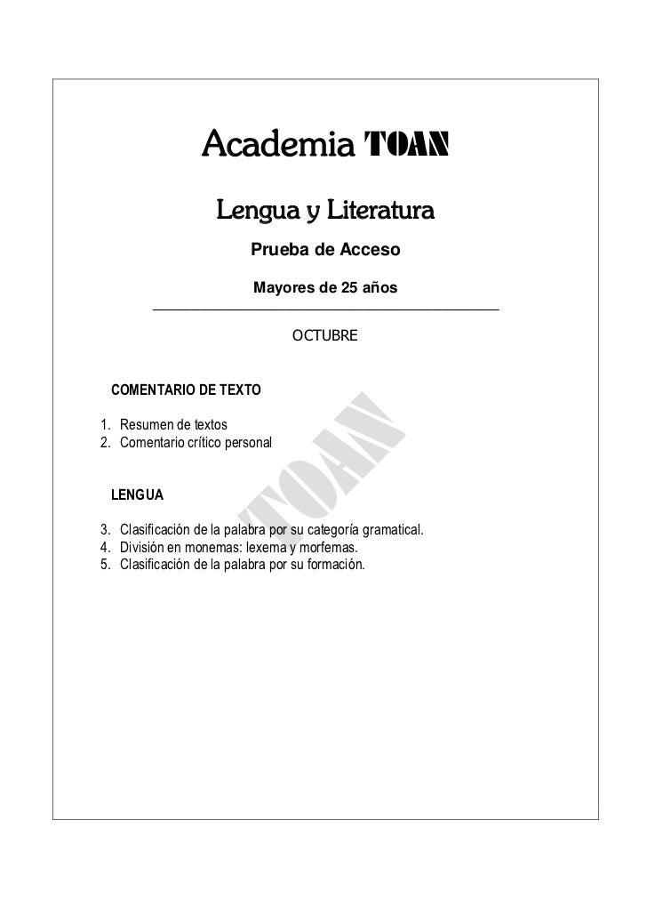 Academia TOAN                     Lengua y Literatura                           Prueba de Acceso                          ...