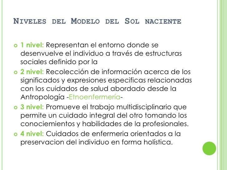 NIVELES DEL MODELO DEL SOL NACIENTE   1 nivel: Representan el entorno donde se    desenvuelve el individuo a través de es...