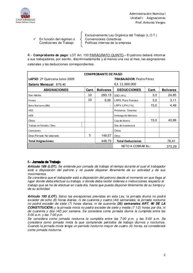 Nomina i asignaciones for Modelo de nomina de trabajadores