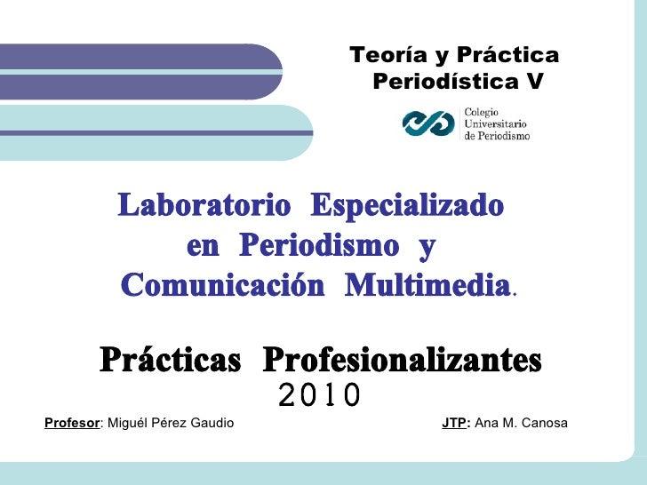 Teoría y Práctica  Periodística V Laboratorio Especializado  en Periodismo y  Comunicación Multimedia. Prácticas Profesion...