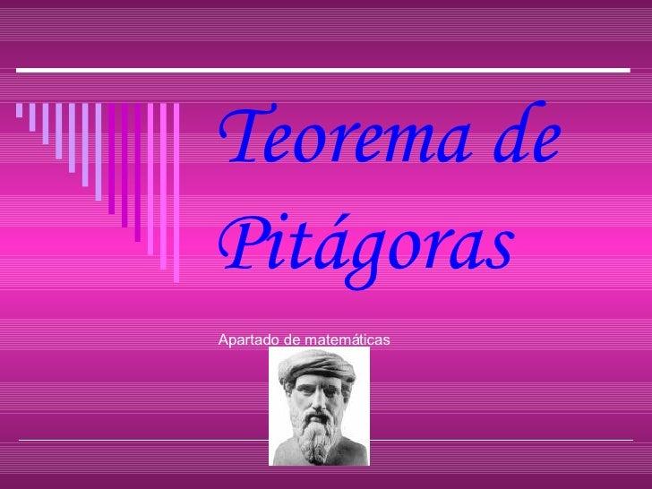 Teorema de Pitágoras Apartado de matemáticas