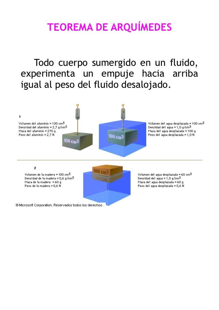 TEOREMA DE ARQUÍMEDES   Todo cuerpo sumergido en un fluido,experimenta un empuje hacia arribaigual al peso del fluido desa...