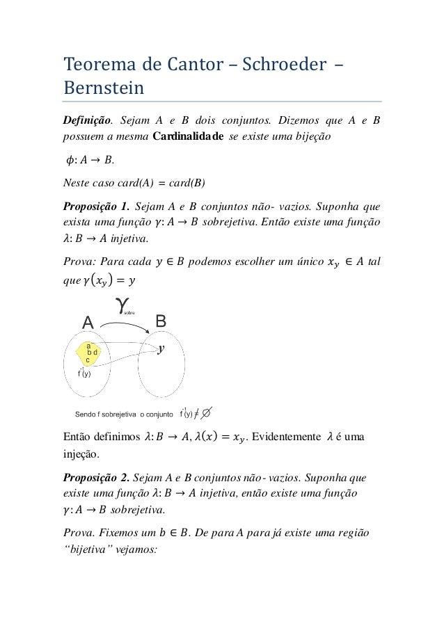 Teorema de Cantor – Schroeder – Bernstein Definição. Sejam A e B dois conjuntos. Dizemos que A e B possuem a mesma Cardina...