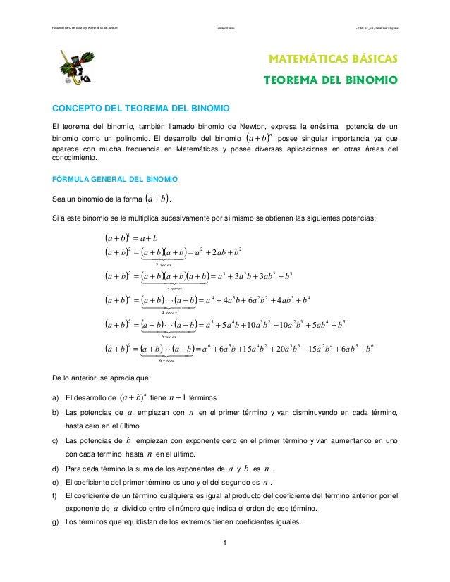 Facultad de Contaduría y Administración. UNAM Teorema del binomio Autor: Dr. José Manuel Becerra Espinosa 1 MATEMÁTICAS BÁ...