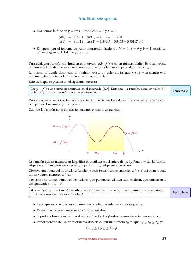 Teorema Del Valor Intermedio Y Valores Extremos
