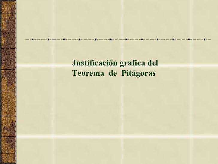 Justificación gráfica del Teorema  de  Pitágoras