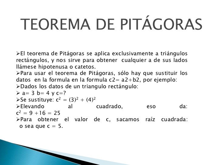 teorema de pitagoras ejemplos