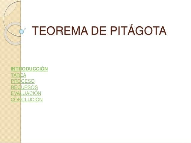 TEOREMA DE PITÁGOTA INTRODUCCIÓN TAREA PROCESO RECURSOS EVALUACIÓN CONCLUCIÓN