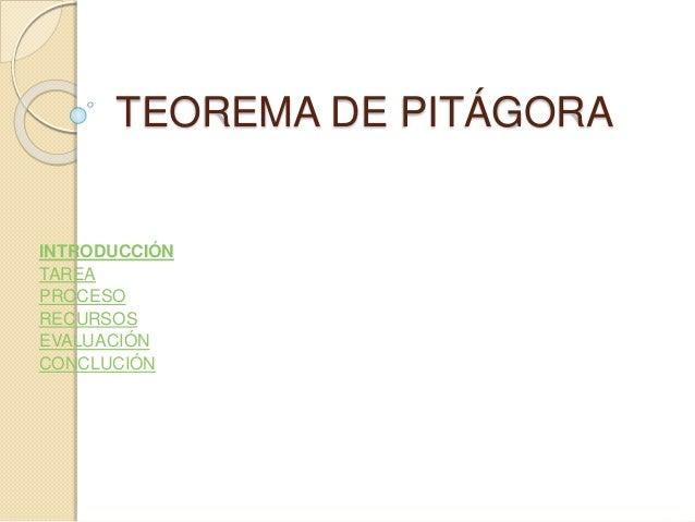 TEOREMA DE PITÁGORA INTRODUCCIÓN TAREA PROCESO RECURSOS EVALUACIÓN CONCLUCIÓN