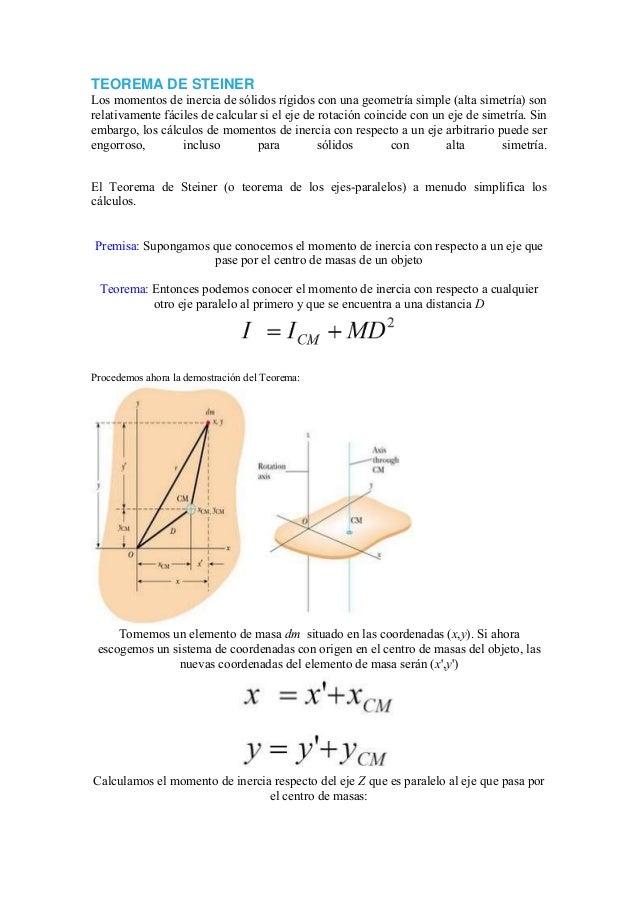 TEOREMA DE STEINER Los momentos de inercia de sólidos rígidos con una geometría simple (alta simetría) son relativamente f...