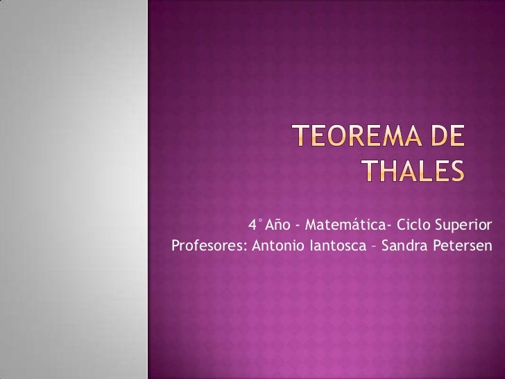 4°Año - Matemática- Ciclo SuperiorProfesores: Antonio Iantosca – Sandra Petersen