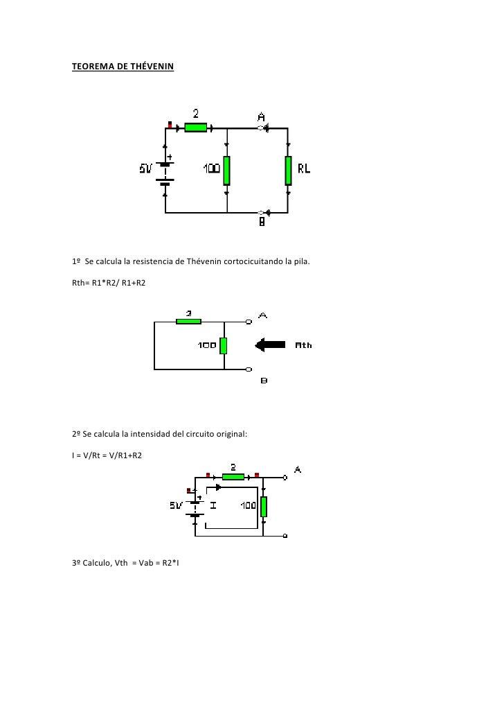 710565490855TEOREMA DE THÉVENIN<br />1º  Se calcula la resistencia de Thévenin cortocicuitando la pila. <br />Rth= R1*R2/ ...