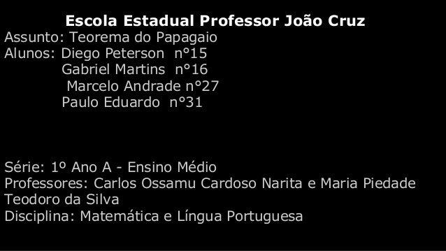 Escola Estadual Professor João Cruz Assunto: Teorema do Papagaio Alunos: Diego Peterson n°15 Gabriel Martins n°16 Marcelo ...