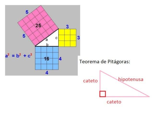 Teorema de Pitágoras• En todo triángulo rectángulo el cuadrarode la hipotenusa es igual a la suma de loscuadrados de los c...