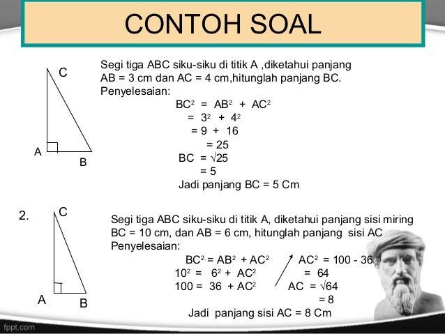 Contoh Soal Yang Berkaitan Dengan Teorema Pythagoras Kumpulan Soal Pelajaran 6