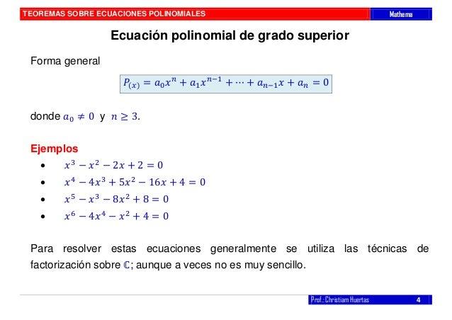 Teoremas sobre ecuaciones