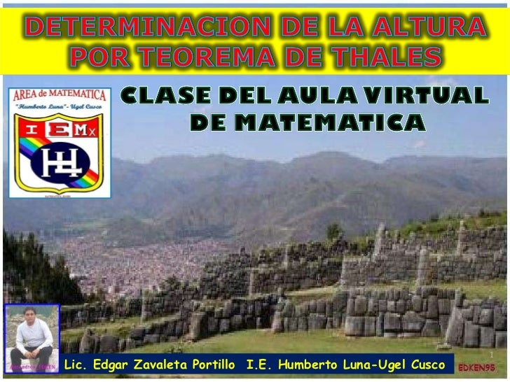 Lic. Edgar Zavaleta Portillo  I.E. Humberto Luna-Ugel Cusco