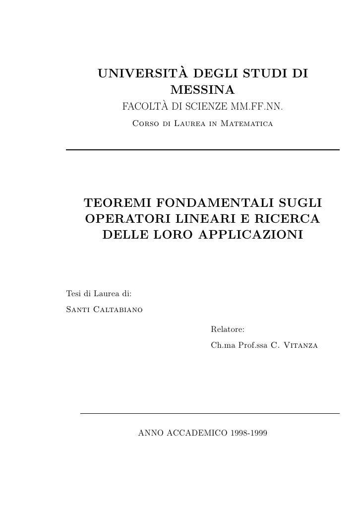 µ        UNIVERSITA DEGLI STUDI DI                MESSINA                     µ               FACOLTA DI SCIENZE MM.FF.NN....