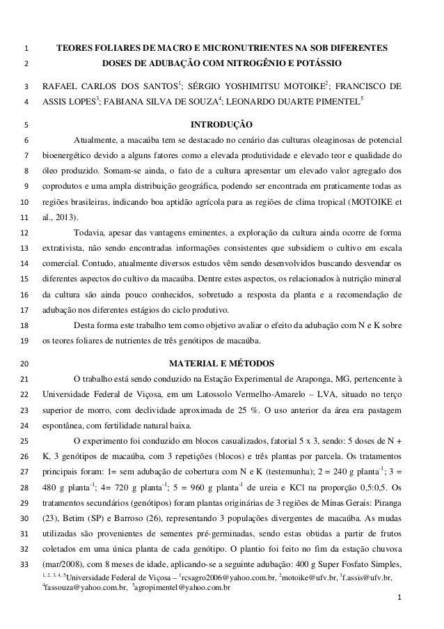 TEORES FOLIARES DE MACRO E MICRONUTRIENTES NA SOB DIFERENTES 1 DOSES DE ADUBAÇÃO COM NITROGÊNIO E POTÁSSIO 2  RAFAEL CARLO...