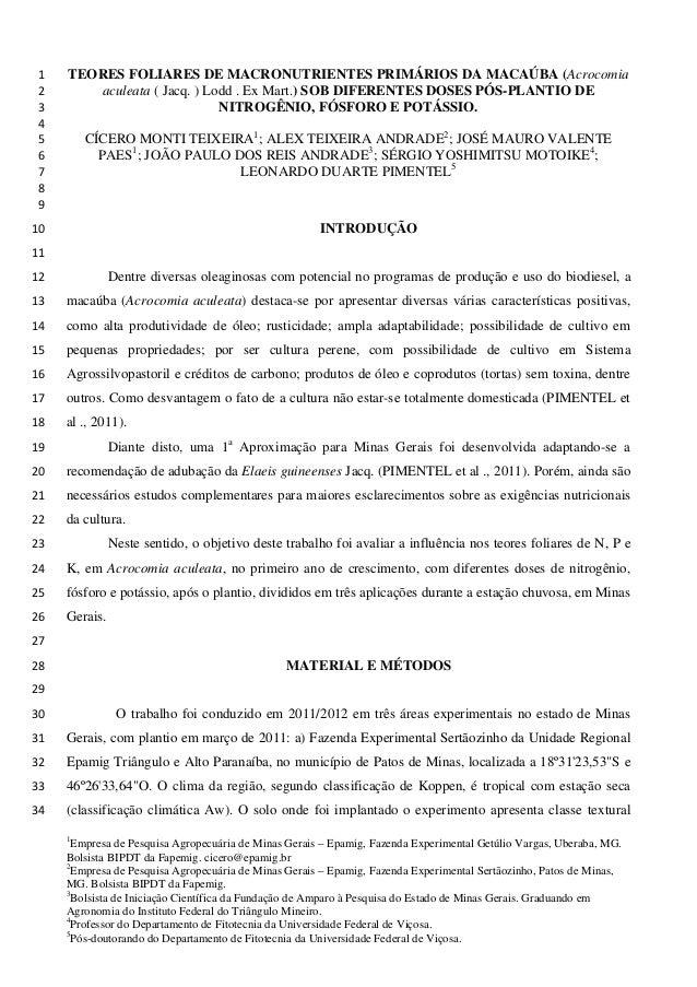 TEORES FOLIARES DE MACRONUTRIENTES PRIMÁRIOS DA MACAÚBA (Acrocomia 1 aculeata ( Jacq. ) Lodd . Ex Mart.) SOB DIFERENTES DO...