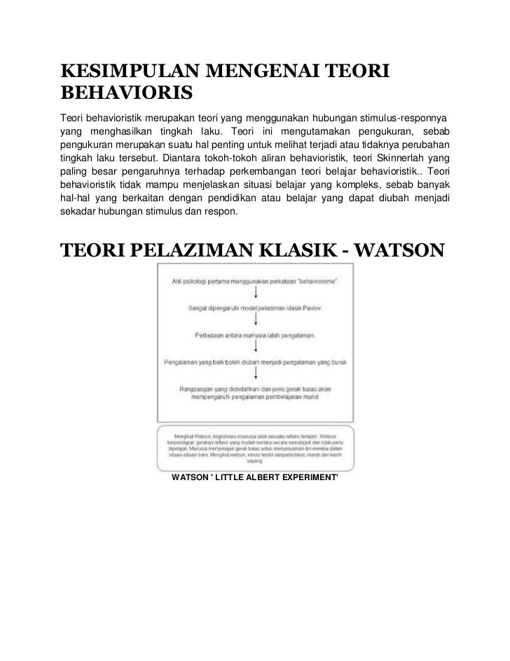 KESIMPULAN MENGENAI TEORIBEHAVIORISTeori behavioristik merupakan teori yang menggunakan hubungan stimulus-responnyayang me...
