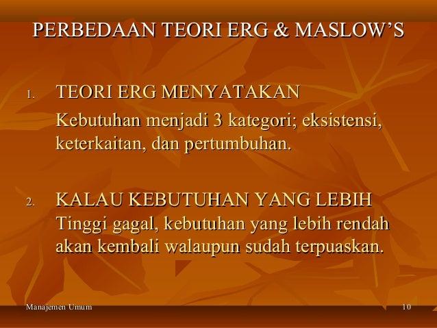 PERBEDAAN TEORI ERG & MASLOW'S1.    TEORI ERG MENYATAKAN      Kebutuhan menjadi 3 kategori; eksistensi,      keterkaitan, ...