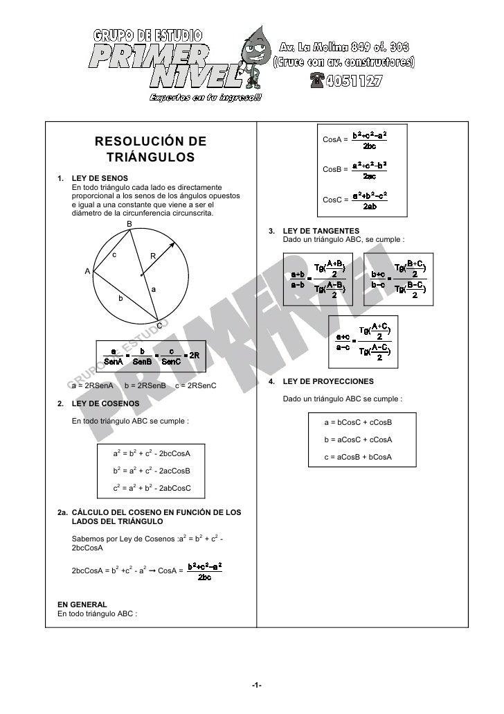 RESOLUCIÓN DE                                                      CosA =            TRIÁNGULOS                           ...