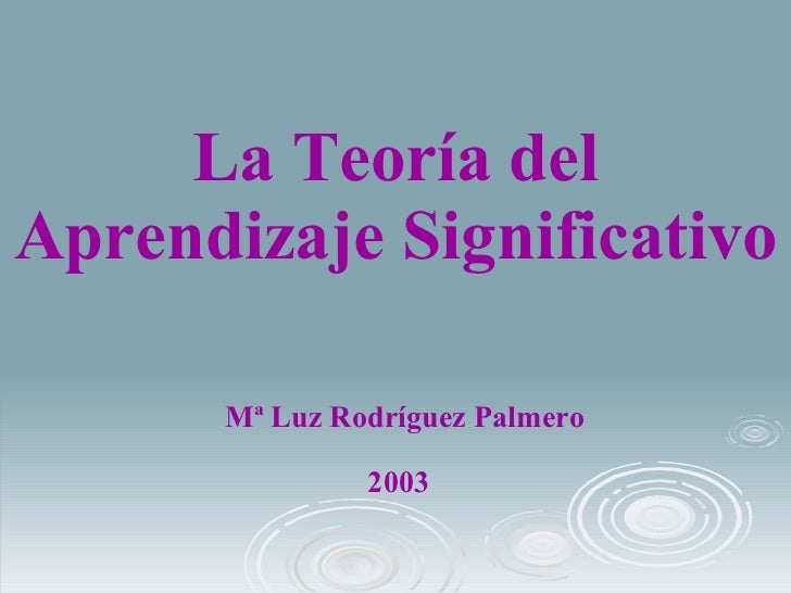 La Teoría del Aprendizaje Significativo <ul><li>Mª Luz Rodríguez Palmero </li></ul>2003