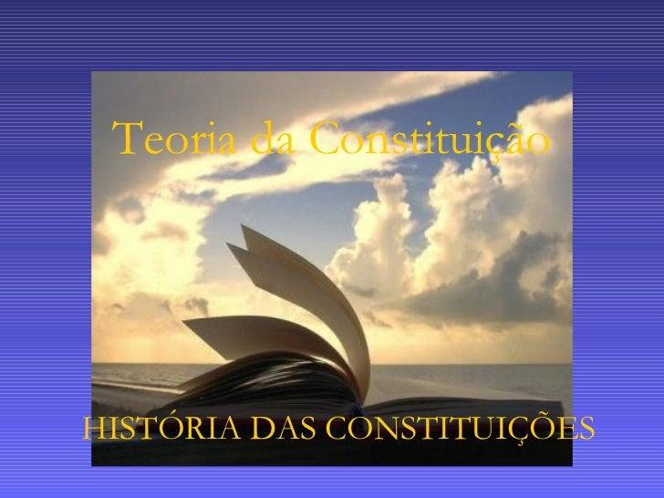 Teoria da Constituição HISTÓRIA DAS CONSTITUIÇÕES