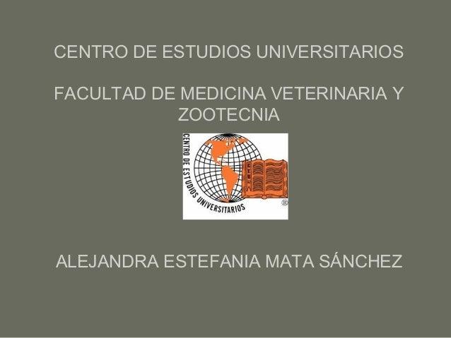 CENTRO DE ESTUDIOS UNIVERSITARIOS FACULTAD DE MEDICINA VETERINARIA Y ZOOTECNIA ALEJANDRA ESTEFANIA MATA SÁNCHEZ