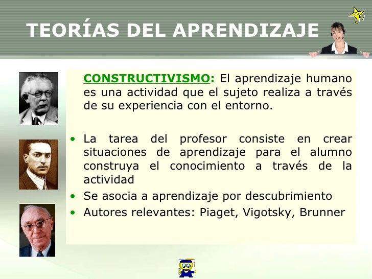 TEORÍAS DEL APRENDIZAJE <ul><li>CONSTRUCTIVISMO :  El aprendizaje humano es una actividad que el sujeto realiza a través d...
