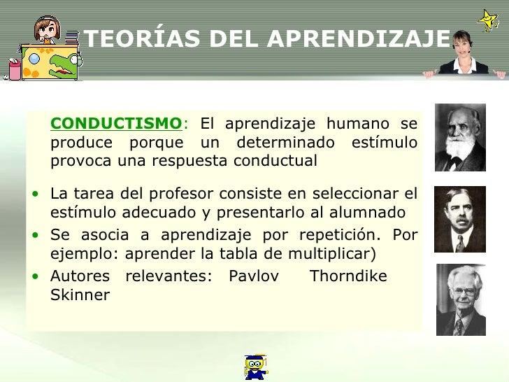 TEORÍAS DEL APRENDIZAJE <ul><li>CONDUCTISMO :  El aprendizaje humano se produce porque un determinado estímulo provoca una...