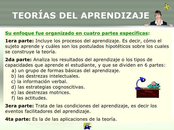 TEORÍAS DEL APRENDIZAJE Su enfoque fue organizado en cuatro partes específicas : 1era parte:  Incluye los procesos del apr...