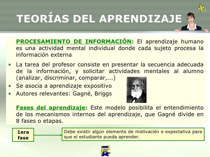 TEORÍAS DEL APRENDIZAJE <ul><li>PROCESAMIENTO DE INFORMACIÓN :  El aprendizaje humano es una actividad mental individual d...