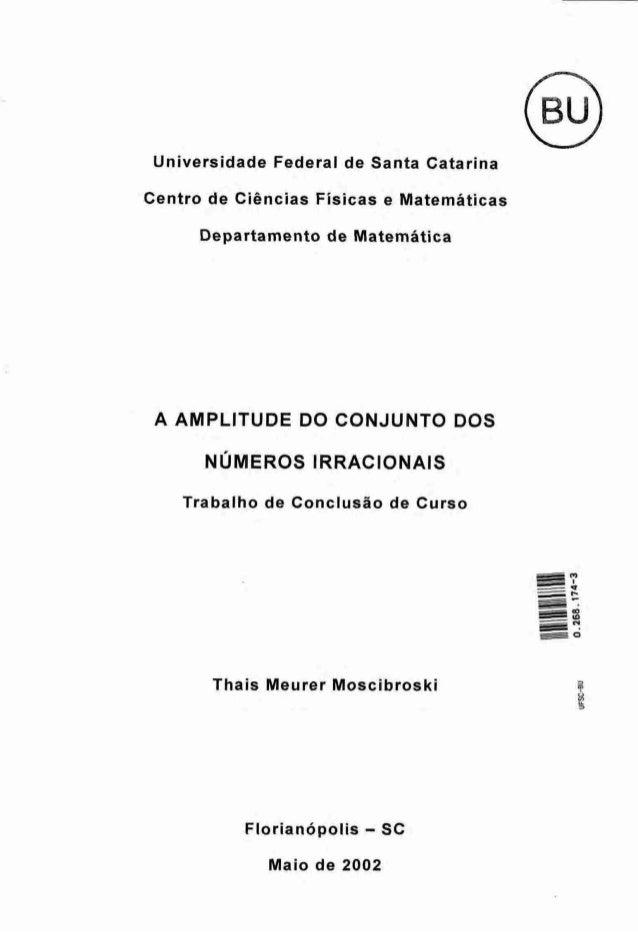 PE@ Universidade Federal de Santa Catarina Centro de Ciências Fisicas e Matemáticas Departamento de Matemática A AMPLITUDE...