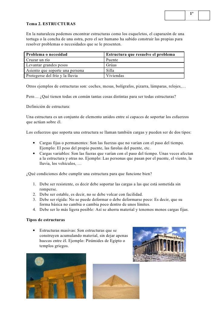 1º  Tema 2. ESTRUCTURAS  En la naturaleza podemos encontrar estructuras como los esqueletos, el caparazón de una tortuga o...