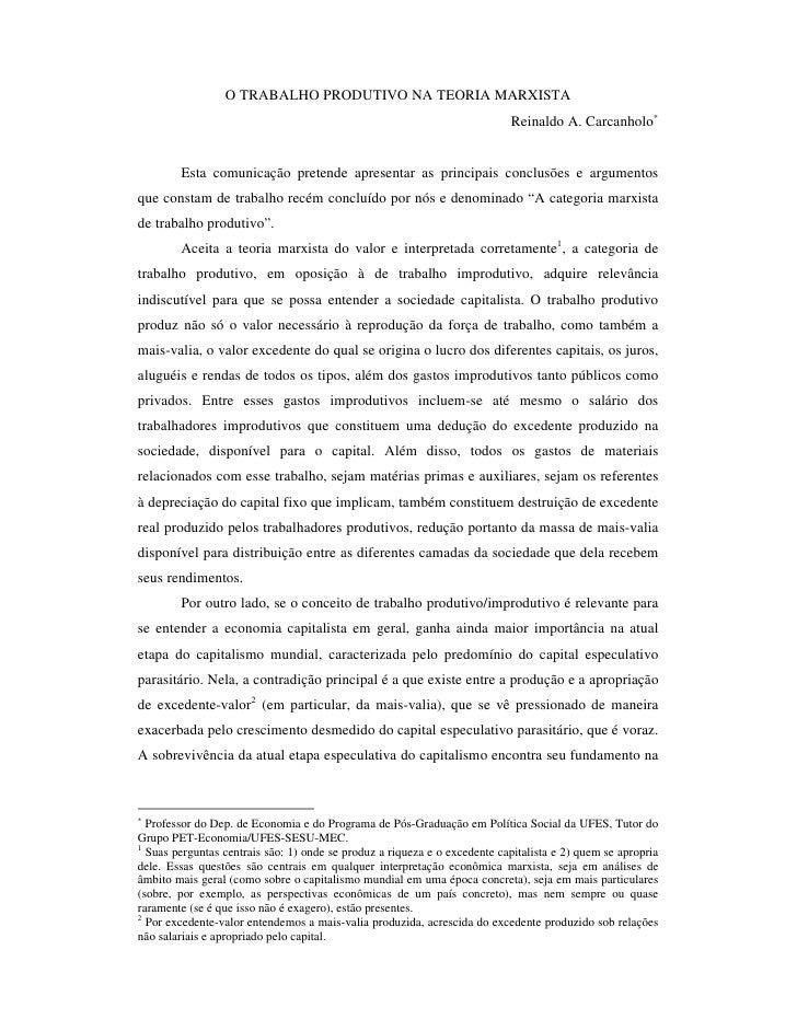 O TRABALHO PRODUTIVO NA TEORIA MARXISTA                                                                            Reinald...