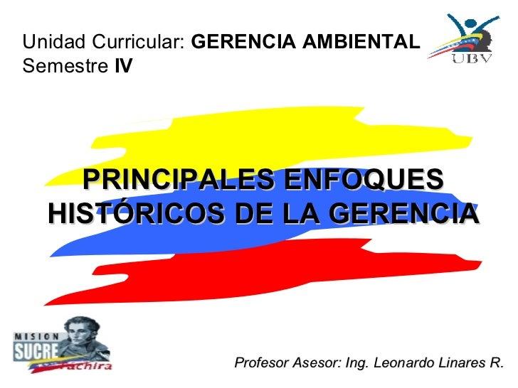 PRINCIPALES ENFOQUES HISTÓRICOS DE LA GERENCIA Unidad Curricular:  GERENCIA AMBIENTAL Semestre  IV Profesor Asesor: Ing. L...