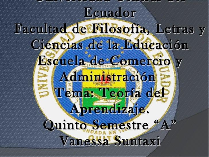 Universidad Central del           EcuadorFacultad de Filosofía, Letras y  Ciencias de la Educación   Escuela de Comercio y...