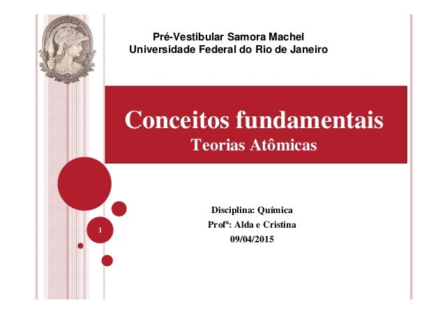Disciplina: Química Profª: Alda e Cristina 09/04/2015 1 Pré-Vestibular Samora Machel Universidade Federal do Rio de Janeir...