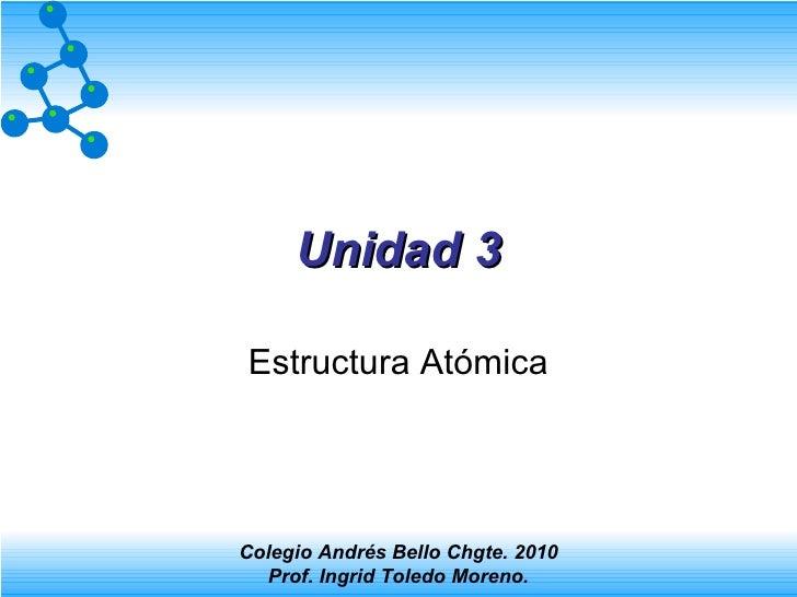 Unidad 3 Estructura Atómica Colegio Andrés Bello Chgte. 2010 Prof. Ingrid Toledo Moreno.