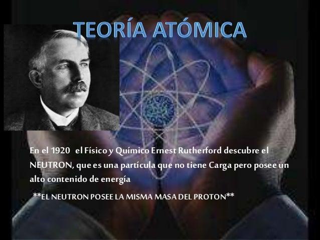 Su teoría Atómica se Baso en: • Los Átomos tienenun núcleo pequeñoy densoy con cargas positivas (+) • Los átomos tienen es...