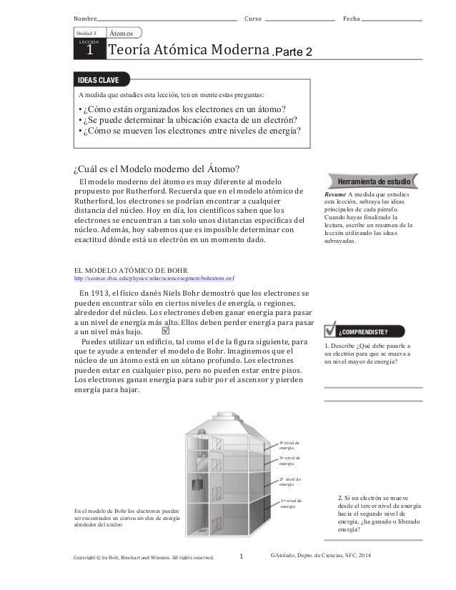 Desarrollo de la teoría atómica. Unidad 5, parte 2. Guía para 8º bási…